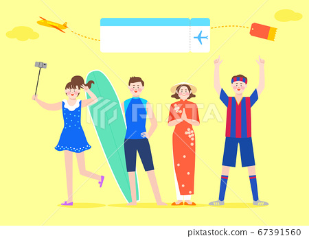Happy and cheerful travelers concept illustration 005 67391560
