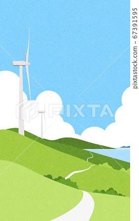 Beautiful spring landscape background illustration 011 67391595