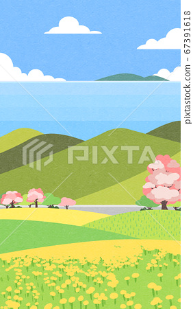 Beautiful spring landscape background illustration 006 67391618