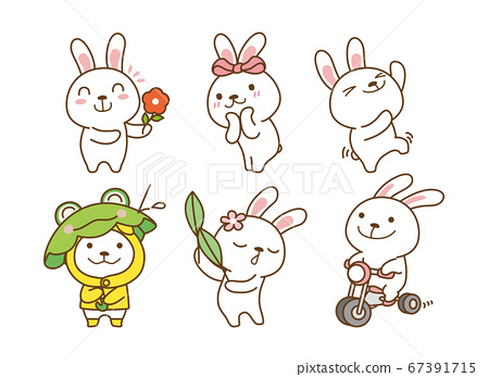 Set of Emoticons. Emoji character cartoon animals illustration 011 67391715