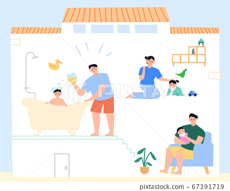 Daily lifestyle in house, daily routine in flat illustration 003 67391719