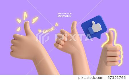 3d cartoon hands Mockup 024 67391766