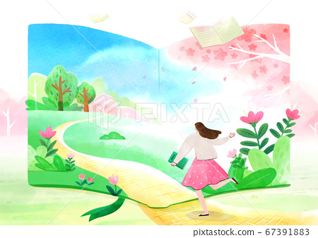 fairy tale story concept watercolor Illustration 014 67391883
