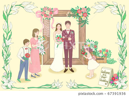 Spring floral frame with happy people illustration 001 67391936