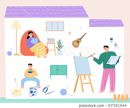 Daily lifestyle in house, daily routine in flat illustration 004 67391944