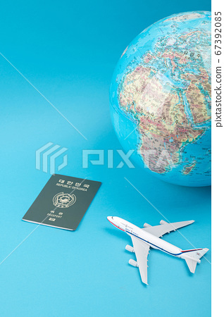 Travel concept- traveler accessories on colorful background 028 67392085