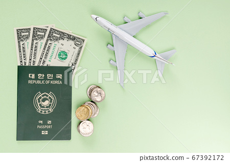 Travel concept- traveler accessories on colorful background 118 67392172