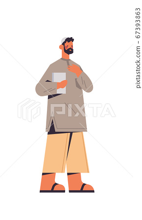 arabic man in traditional clothes arab prayer with quran male cartoon character standing pose full length 67393863