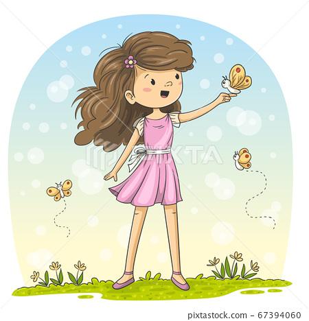Little Girl With Butterflies 67394060
