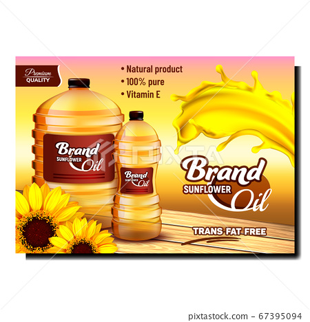 Sunflower Oil Natural Product Promo Poster Vector 67395094