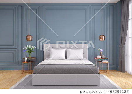 Modern and vintage bedroom design,Cozy gray room concept ,blue wall and wood floor,3d rendering 67395127