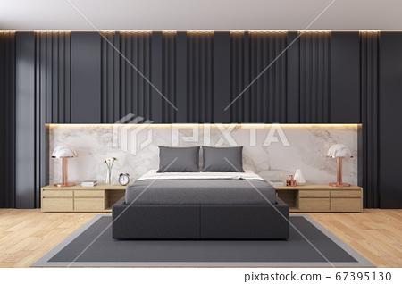 Modern Luxury Dark Bedroom Interior Design 3d Stock Illustration 67395130 Pixta