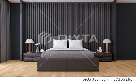 black wall ,Modern  Bedroom interior Design,3d render 67395166