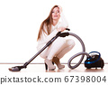 Funny girl with vacuum cleaner. Housework 67398004