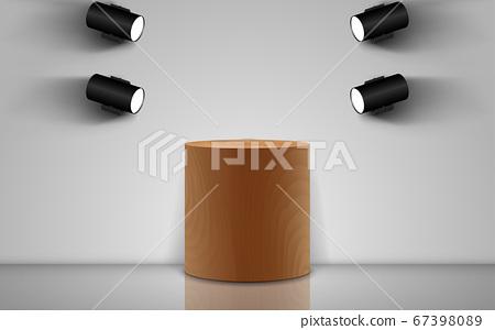 wooden podium with spotlight in the white studio room 67398089