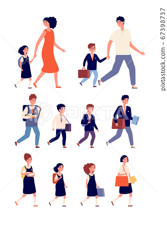 Students characters. Mixed elementary and high school flat children. Isolated teenagers with bags, college community. Kids study vector set 67398737