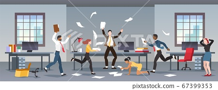 Office panic. Corporate business problems, collapse career. Chaos in workplace with employees. Men and women in company in stress, nervous people. Financial crisis, recession vector concept 67399353