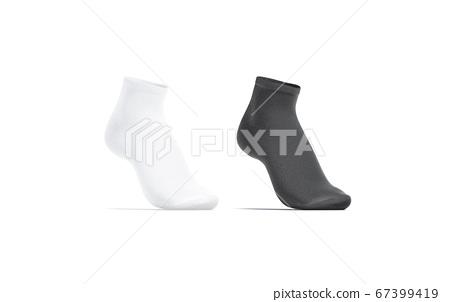 Blank black and white ancle socks mockup set, half-turned view 67399419