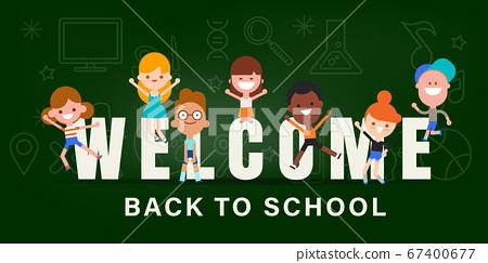 Kids back to school banner background illustration 67400677