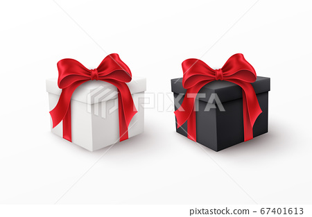 White and Black gift box with red silk bow isolated on a white background. Vector illustration 67401613