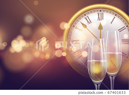 2021 New Year background with a clock and glasses of champagne and glowing bokeh light. Vector illustration 67401633