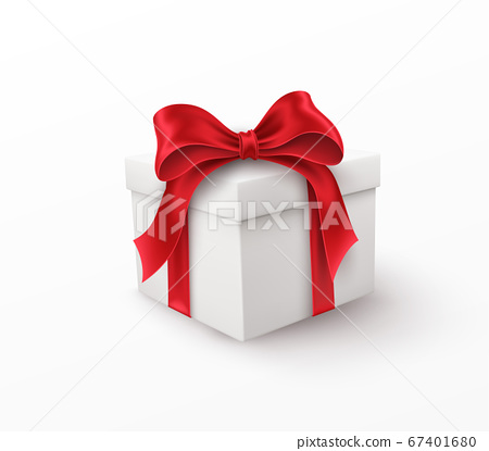 White gift box with red silk bow isolated on a white background. Vector illustration 67401680