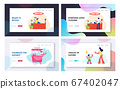 Flower Shop, Ice Cream Stall, Mother with Son Sparetime Website Landing Page Set, Man Buy Bouquet in Store, Saleswoman 67402047