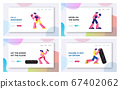 Boxing and Crossfit Website Landing Page Set. Athletic Men Boxing on Sports Ring. Male and Female Characters Sportsmen Workout with Huge Tyre in Gym Web Page Banner. Cartoon Flat Vector Illustration 67402062