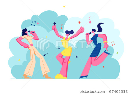 Excited Young Girls Company with Microphones Performing on Karaoke Party. Happy Female Characters Cheerfully Singing, Music 67402358
