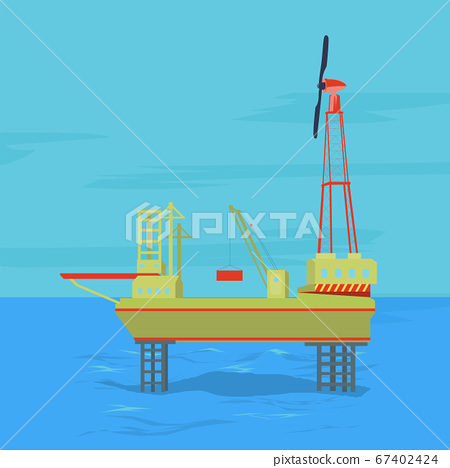 Oil and gas offshore industry with stationary platform 67402424