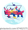 People at Ski Resort Holidays. Skiers and Snowboarder with Equipment Go Up Mountain Funicular. Group of Friends Sportsmen Having Fun and Winter Time Outdoor Activity Cartoon Flat Vector Illustration 67402575