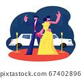 Young Famous Couple on Red Carpet Stand at Limousine Waving Hands. Woman in Dress and Man in Suit Actors Characters on Award Ceremony. Luxury Celebrity Lifestyle. Cartoon Flat Vector Illustration 67402896