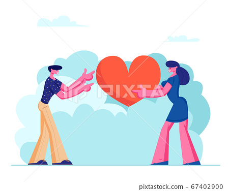 Loving Couple Share Huge Red Heart to Each Other 67402900