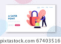 Security, Safety, Private Property Protection Landing Page Template. Tiny Male Character Close on Key Huge Padlock with Signaling. Secrecy, Secure Protecting, Home Defense. Cartoon Vector Illustration 67403516