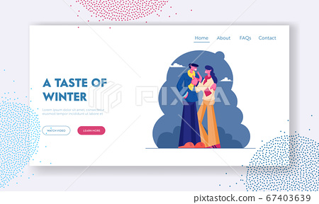 Romantic Dating on Street Website Landing Page. Loving Couple Wearing Warm Clothing Cuddling Hugging at Cold Autumn Weather. Love and Human Relations. Web Page Banner. Cartoon Flat Vector Illustration 67403639