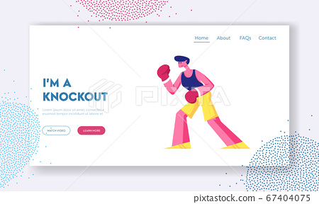 Athletic Man Boxing on Ring Website Landing Page. Professional Sportsman Boxer or Kickboxer Stand in Fighting Pose Take Part in Combat Competition Web Page Banner. Cartoon Flat Vector Illustration 67404075