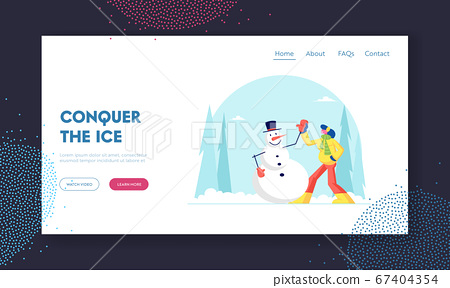 Winter Holidays Spare Time Recreation Website Landing Page. Young Woman Having Outdoors Fun Make Snowman at Park. Wintertime Active Games Amusement Web Page Banner. Cartoon Flat Vector Illustration 67404354