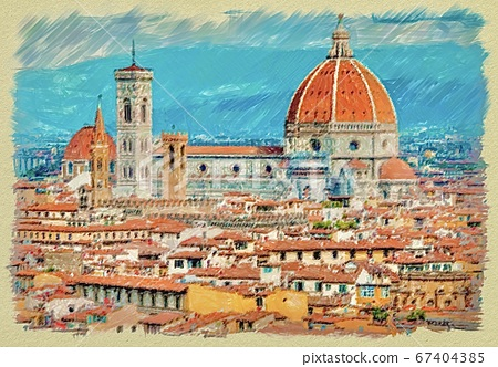 Illustration of a beautiful landscape of Florence 67404385
