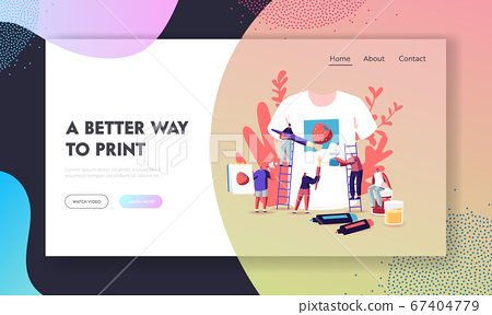 Tshirt Print, Diy Hobby Workshop Landing Page Template. Tiny Characters Stand on Ladders Painting Strawberry 67404779