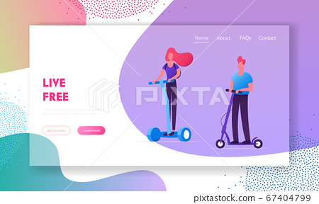 Eco Transport Website Landing Page. People Riding Modern Transporters Hoverboard or Self-balancing Board, Electric Unicycle 67404799