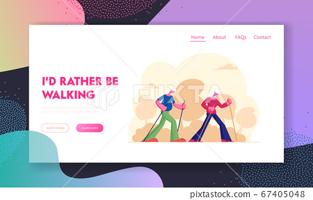 Elderly People Nordic Walking Website Landing Page. Aged Couple Engage Outdoors Sport Open Air Workout with Sticks. Seniors Hiking Healthy Lifestyle Web Page Banner. Cartoon Flat Vector Illustration 67405048