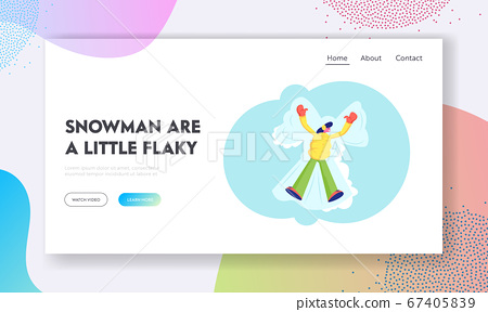 Winter Entertainments and Fun Recreation Website Landing Page. Happy Woman Enjoy First Snowfall Lying in Snow Moving Arms and Legs Making Snow Angel Web Page Banner. Cartoon Flat Vector Illustration 67405839