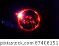 Red exoplanet in deep space. Elements of this image were furnished by NASA. 67406151