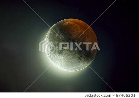 Beautiful moon, with reflection of the sun. Elements of this image were furnished by NASA. 67406201