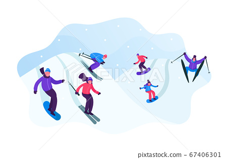 Adult People Dressed in Winter Clothing Skiing and Snowboarding. Male Female Riders Characters Having Fun and Winter Mountain Sports Activity. Resort Sport Spare Time Cartoon Flat Vector Illustration 67406301