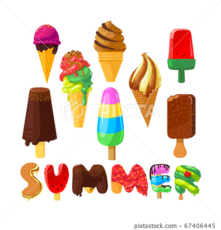Set of Cartoon Ice Cream and Creative Typography Isolated on White Background. Summer Sweet Food 67406445