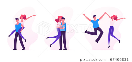 Set of Happy Loving Couples Sparetime, Cheerful Man and Woman Characters Spend Time Together, Hugging, Rejoice, Jumping 67406831