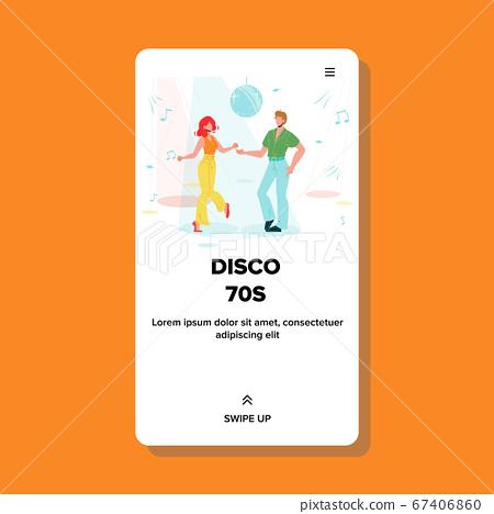 Disco 70s Dancing Couple Club Dance Floor Vector 67406860