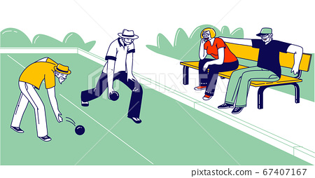 Senior People Playing Bocce or Lawn Bowling Competing with each other. Ground Level Shot, Elderly Friends 67407167