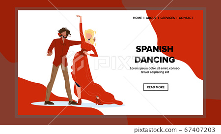 Spanish Dancing Couple Dancers Boy And Girl Vector 67407203